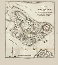 MAP ANTIQUE WAR AMERICAN INDEPENDENCE BREED'S HILL REPLICA POSTER PRINT PAM1339