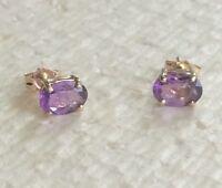 14 ct gold  amethyst   oval stud  earrings  # b17