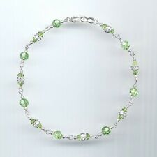 Dainty Sterling Silver Anklet w/Swarovski Peridot Green Crystals & Rondelles
