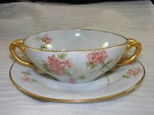 Vintage Kokura China Handled Cream Soup Bowl Underplate