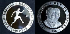 1990 Spain Large  silver Proof 2000 Pesetas-Ancient Olympic Runner
