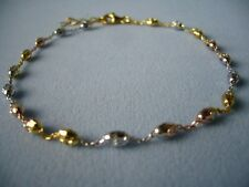 "Italy 925-Sterling Silver 10"" to 11"" Tri Color Ankle Bracelet w/Oval Beads"
