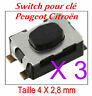 3x Switch bouton pour télécommande clé pliante plip Peugeot 207 307 407 1007