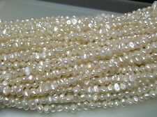 AAA 4 loose str vintage small oval flat freshwater biwa pearl-side drilled 4-5mm
