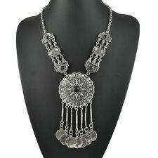 Ethnic Tribal Beads Coin Fringe Silvering Necklace Belly Dance Boho Jewelry New