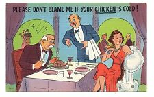 Pretty Woman In Restaurant Humor Fun Cartoon Comic Vintage Postcard Jan17