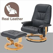 Bonded Leather Leisure Massage Recliner Chair Swivel Armchair w/Ottoman in Black