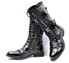 Men Punk Mid Calf Boot Lace Up Combat Gothic Leather Military Black Shoes Size#