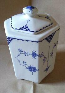 Franciscan 'Denmark' blue & white ironstone hexagonal lidded tea caddy