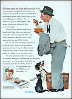1955 Norman Rockwell art man eating Kellogg's corn flakes vintage print ad L78