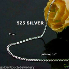 "Mens polished 925 Sterling Silver plated, filled 2mm CURB CHAIN NECKLACE 24"" /UK"