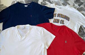 4 X Mens T-shirt Tops Calvin Klein Ralph Lauren Levis XXL V Neck