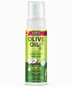 ORS Olive Oil Hold & Shine Wrap/Set Mousse infused with coconut oil( 207ml)