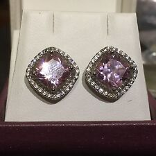 MS Square Pink sapphire + 28 cz silver / white gold gf studs GIFT BOXED Plum UK