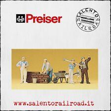 PREISER 10251 SET PERSONAGGI: Muratori con attrezzi e accessori - 1/87