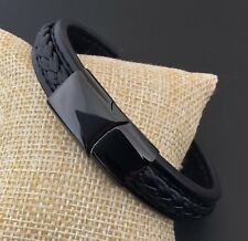 Men's Black Genuine Leather Bracelet ~ Black  Magnetic Clasp 21.5cm / 8 1/4 inch