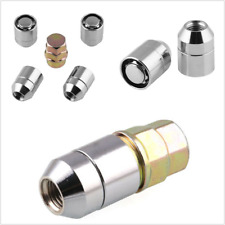 M12x1.5 Chrome Cone Seat 4 Locks 1 Key Set Anti-theft Wheel Lug Nuts Universal