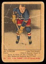 1951 52 PARKHURST HOCKEY #105 Jim Conacher VG Rookie New York Rangers rc Card