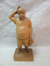 OURO wood whittled man scratching head figurine. Spain. Sancho Panza