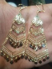 Chandelier Earring 14k Solid Real Gold Tri white yellow rose hanging Long 9.3g