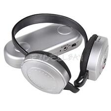 Hi-Fi HiFi Wireless Headphones FM Radio Receiver Headset with Transmitter Silver
