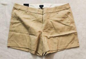 "J. Crew Women's 5"" Inseam Chino Shorts SV3 Light Khaki Size 14 NWT"