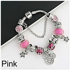 Mickie/Minnie Mouse charm 20 cms bracelet (Breast Cancer charity fundraiser)