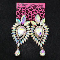 Betsey Johnson Earring AB Crystal Rhinestone Dangle Earbob Women's Jewelry Gift