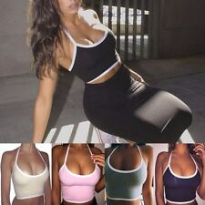 Women's Sports Yoga Fitted  Crop Vest Tops Seamless Blouse Gym Halter Tank Shirt