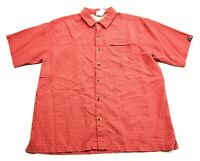 The North Face Mens Red Plaid Short Sleeve Button Front Shirt Size Large