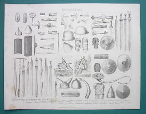 ARMS & ARMOR of Britons Gauls German Tribes - 1870s Antique Print