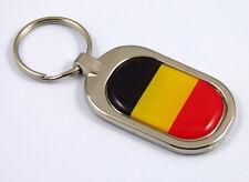 Belgium Flag Key Chain metal chrome plated keychain key fob keyfob Belgian