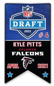 ATLANTA FALCONS PIN 2021 NFL DRAFT #4 PICK KYLE PITTS BANNER STYLE LIMITED!!