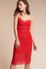 NEW ANTHROPOLOGIE BHLDN Sz 4 ALESSA CROCHET LACE STRAPPY MIDI PENCIL DRESS RED