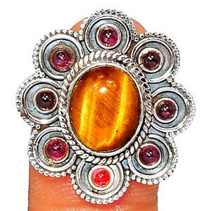Filigree - Tiger Eye - South Africa & Garnet 925 Silver Ring Jewelry s.8 BR84669