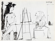"""PABLO PICASSO 1954 Human Comedie Print """"Baboon Artist & Nude Model"""" Framed COA"""