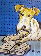 Fox Terrier - dog art print - 11x14 modern dog - gift for librarian - Jschmetz