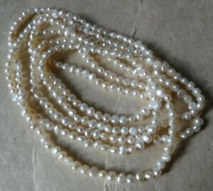 """vintage 60"""" very LONG real PEARL bead flapper necklace -K38"""