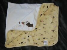 Vtg Gymboree Ruff Ruff Ruff Puppy Dog Cotton Baby Blanket Yellow White Receiving