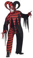 Mens Krazed Jester Joker Carnival Halloween Costume Fancy Dress Outfit Adult M/L