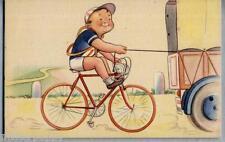 Bambino Ciclista Umoristica SPORT Ciclismo Childrens PC Circa 1930