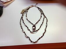 NWT Uno de 50 Silver-Plated/Leather Knot Necklace w/Pink Swarovski Crystal $295