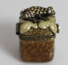 Jay Strongwater Signed Small Trinket box With Swarovski Crystal Frog Top-12465