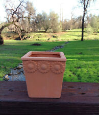 Set of 3 Clay Terracotta Flower Embellished Square Shaped Garden Pots