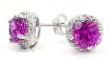 2 Carat Pink Sapphire & Diamond Round Stud Earrings .925 Sterling Silver