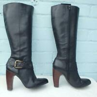 NEXT Leather Boots Size UK 6.5 Eur 40 Womens Ladies Sexy Buckle Black Boots