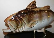 EXQUISITE Realisric Art Pottery BASS FISH by Vernon Pottery, Seagrove, NC, BIG!