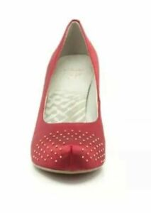 NEW* CLARKS 'Drum Time' Red Wine Satin Gold Studded Court Heels ShoesUK 4.5&5.5