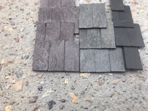 Sample lot of slate roof tiles of mixed colours