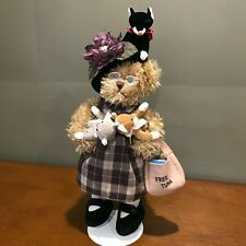 """Bearington Collection IMA SPINSTER Bear """"Crazy Cat Lady"""" Free Tuna - WITH STAND"""
